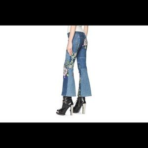 Alexander McQueen patchwork Capri cropped Jeans.